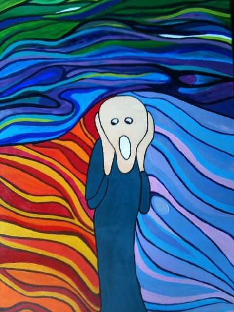 My impression of 'The Scream' by Edvard Munch Painted on canvas in acrylic 2012 by zarnii