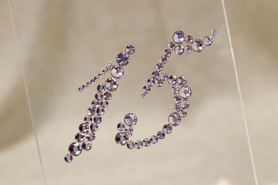 Plexiglass Wedding Table Numbers with Bling by tangedesign on Etsy, $12.95