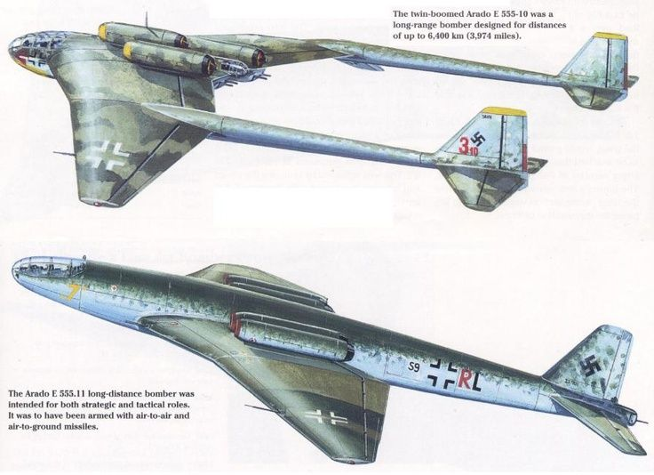 Never-build German heavy bomber concepts, all created for the Amerika Bomber project. Notice how many of these designs bear resemblance to subsequent early cold war models from America and Britain: