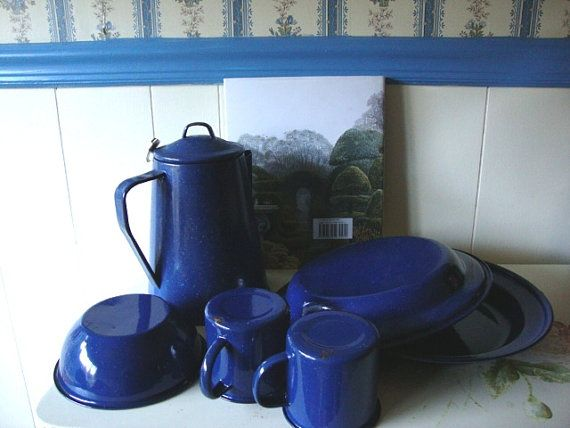 1960's Enamelware Set Blue with Speckles Rustic by AnnasDream, $65.00
