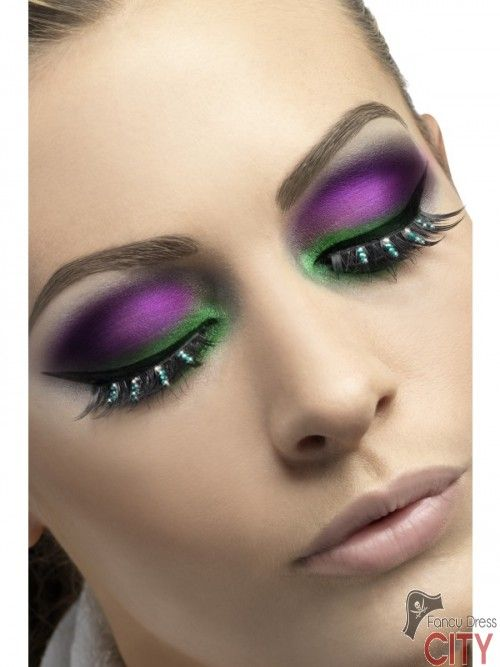 Eyelashes, Black with Green Diamante