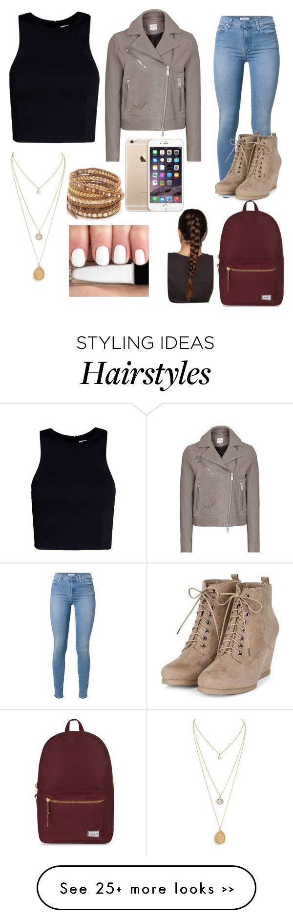 """Outfit inspiration"" by xela11 on Polyvore featuring T By Alexander Wang, 7 For All Mankind, Chan Luu and Herschel Supply Co."