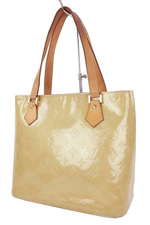 Authentic Louis Vuitton Houston Beige Vernis Tote Bag Purse