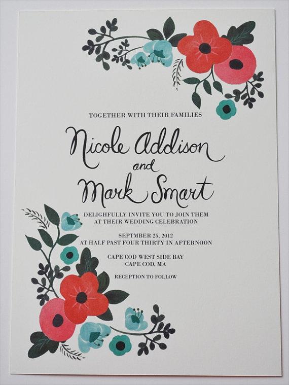 Vintage Floral Wedding Invitation Custom by LOFTLIFEPRESS on Etsy, $260.00 - I like the colors