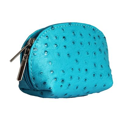 Turquoise Ostrich Leather Coin Purse - Now with free UK postage!
