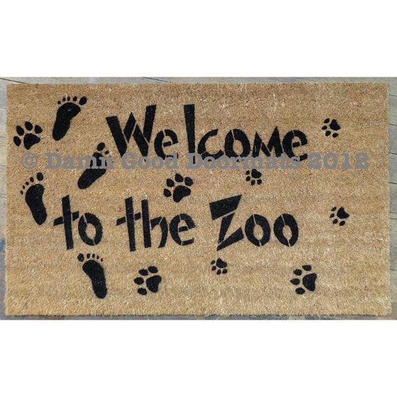 welcome to the zoo front door novelty doormat by