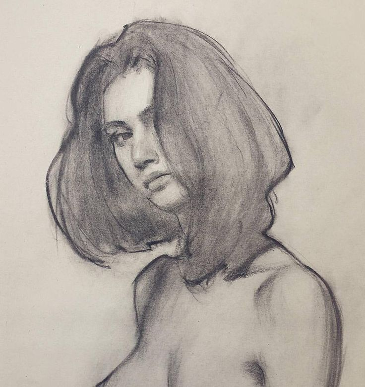 Lovely mix of line weights and edges. Charcoal Drawing