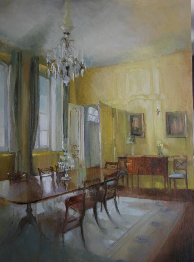 "Karina Knight (Contemporary French Artist) ""the yellow dining room"""