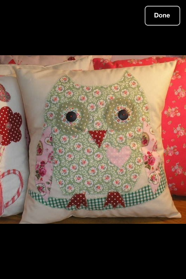 Applique Owl Cushion Kit pink blue sew your own Cath Kidston Cotton Fabric New