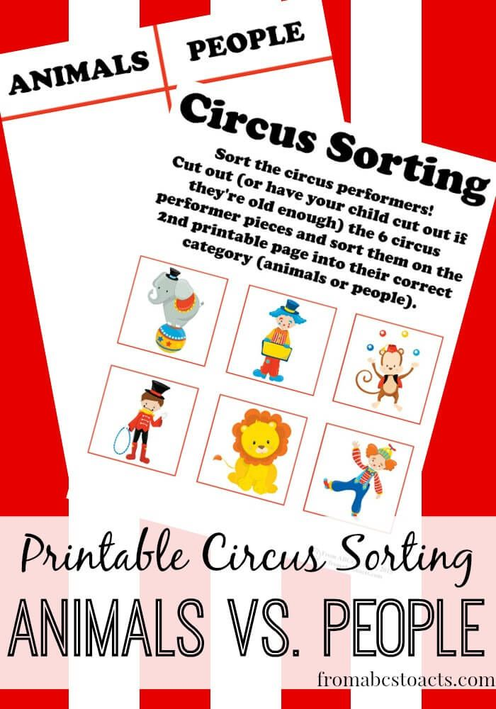 Working on basic early math concepts like sorting and classifying can be fun for your preschooler when you add in a few printable circus performers!