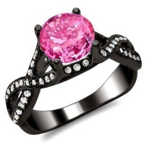 pinkdiamondengagementrings 205ct round pink sapphire diamond engagement ring 18k black gold by front jewelers - Colored Wedding Rings