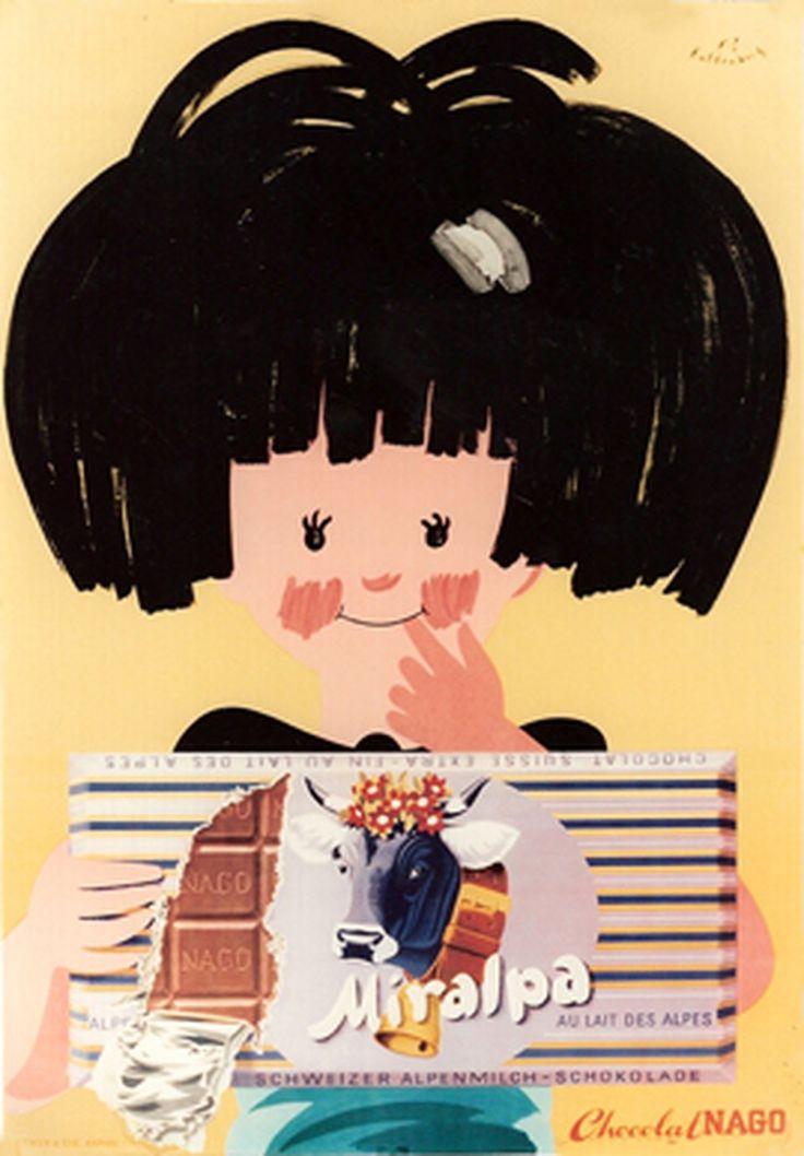 Chocolat Miralpa, Chocolat Nago. Fritz KALTENBACH (1955 circa)