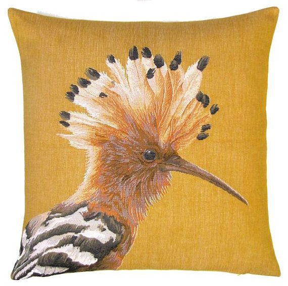 jacquard woven belgian tapestry pillow cushion with tropical hoopoe bird