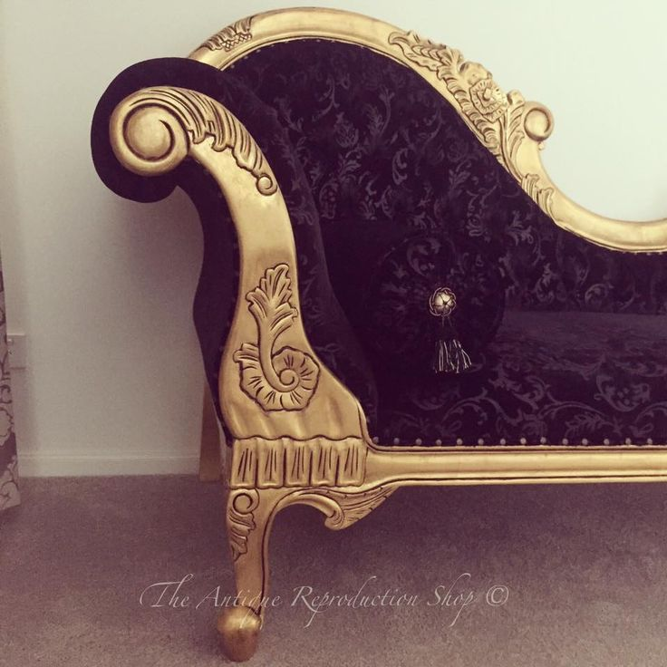 Black and Gold furniture. Chaise lounge. Luxury living.