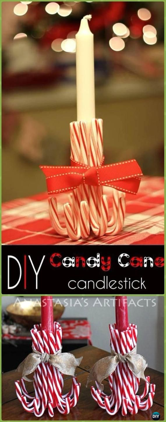 DIY Candy Cane Candlestick Instruction - Holiday Candle DIY Craft Ideas & Tutorials
