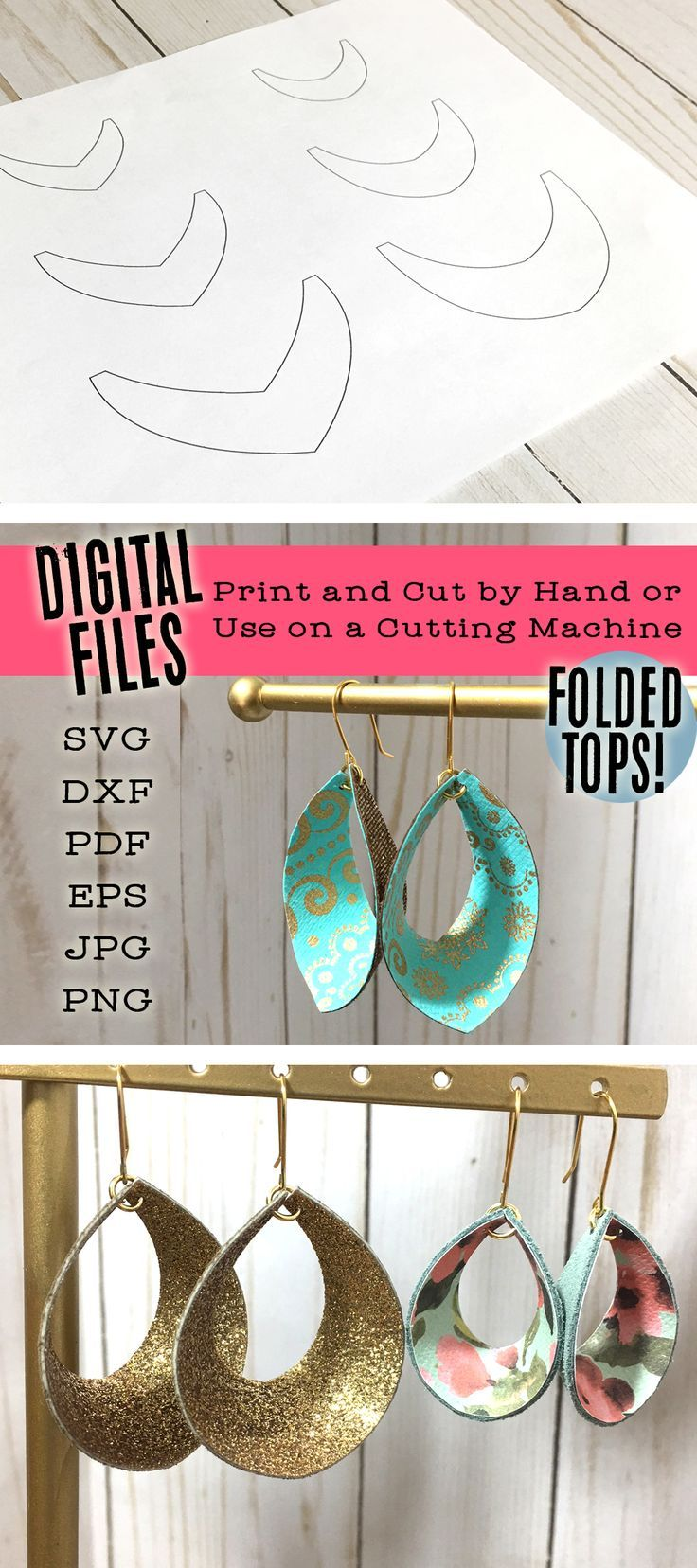 Leather Earring SVG Files - Dimensional Leaf and Teardrop Shapes - Cutout on Cricut or Print and Cut by Hand - Digital Download