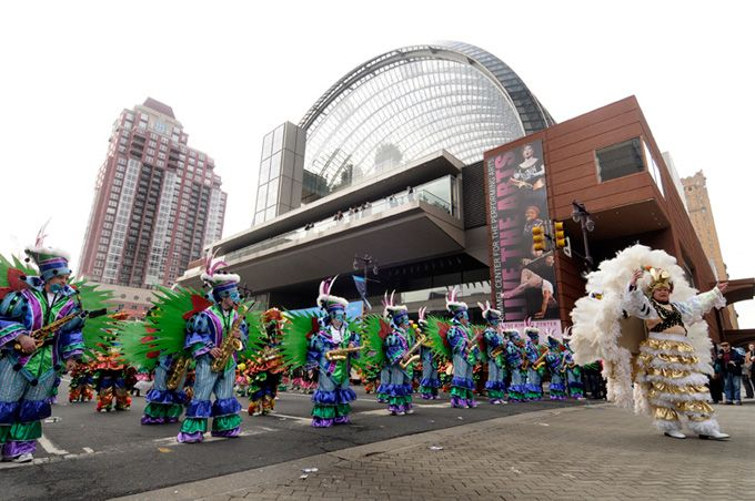 "Trilby String Band performing its 2010 theme ""La Vida Loca"" in the Philadelphia Mummers parade on Broad Street in front of the Kimmel Center"