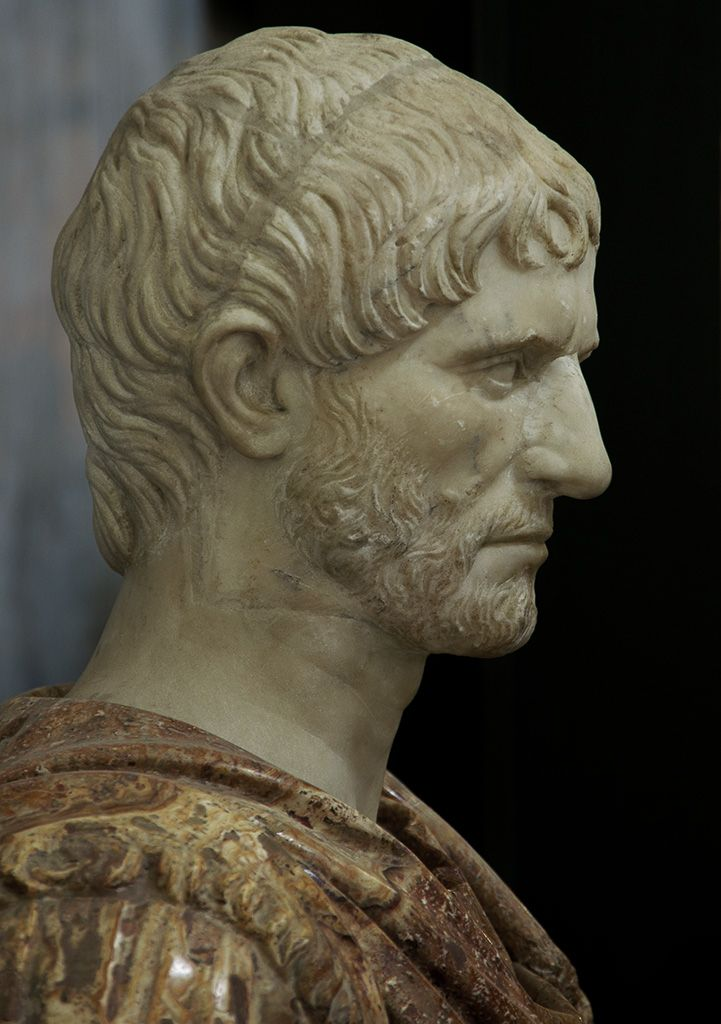 Lucius Junius Brutus - the founder of the Roman Republic and traditionally one of the first consuls in 509 BCE.  White marble. 1st — early 2nd cent. C.E.?  Naples, National Archaeological Museum. Origin:	From the Farnese collection.