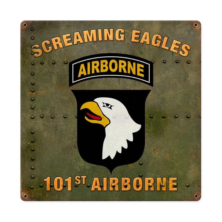 From the Altogether American licensed collection, this 101st Airborne Division Screaming Eagles vintage metal sign measures 12 inches by 12 inches and weighs in at 1 lb(s). This vintage metal sign is