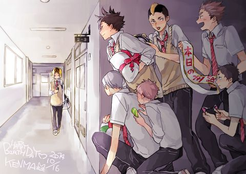 Kenma's birthday! [pixiv] Imagine him not telling anyone but Kuroo tells the team so they decide to surprise him