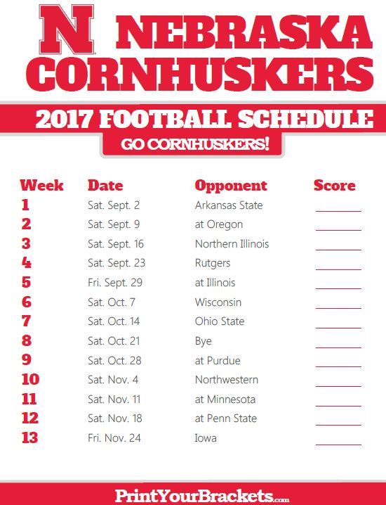 2017 Nebraska Cornhuskers Football Schedule