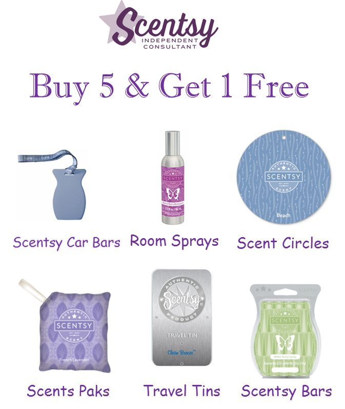 Buy 5 & Get 1 Free Scentsy. To order go to http://CWHITEAKER.SCENTSY.US