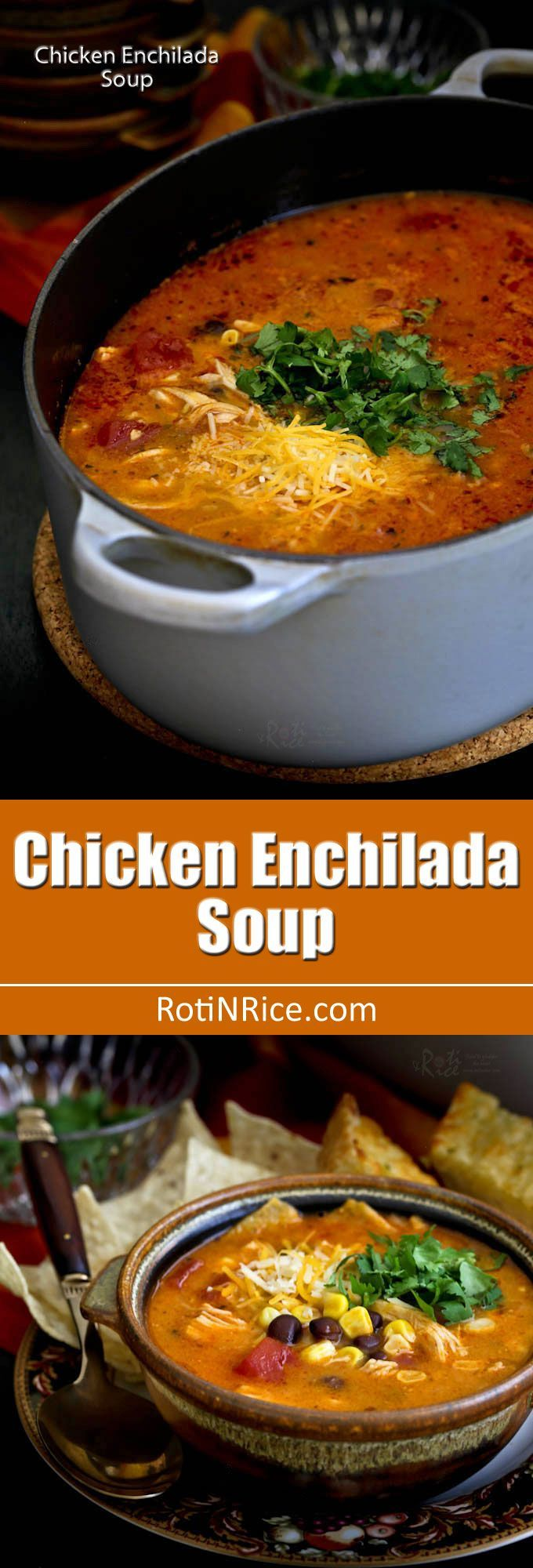 Easy to prepare creamy Chicken Enchilada Soup with shredded chicken, black beans, corn, diced tomatoes, and melted cheese. So comforting and delicious! | http://RotiNRice.com