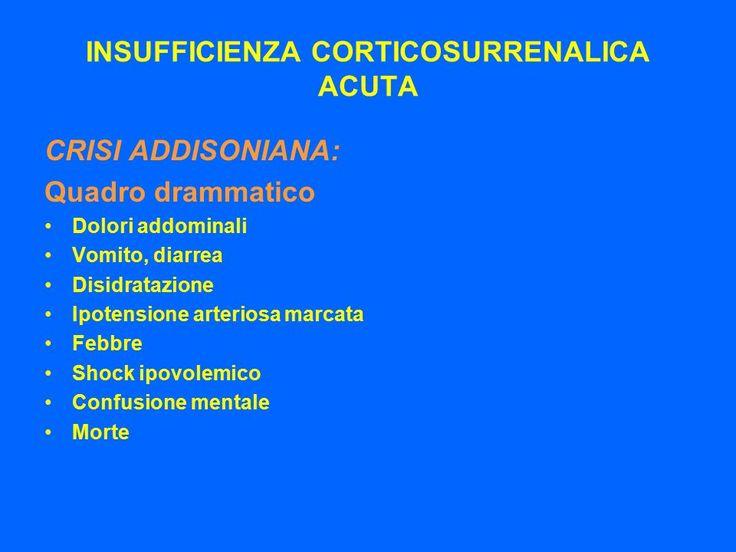 CRISI ADDISONIANA o INSUFFICIENZA RENALE ACUTA - IPOSURRENALISMO ACUTO  soprattuto nel bambino,  mentre nell'adulto date da brusca interruzione di terapia, traumi, infezioni, acute, stress, fastroenteritie in soggetti con iposurrenalismo cronico primitivo o secondario misconosciuto o non correttamente trattato. Insorgenza con shock ingravescente,  febbre, dolori addominali, disidratazione, iperK, ipoNa.