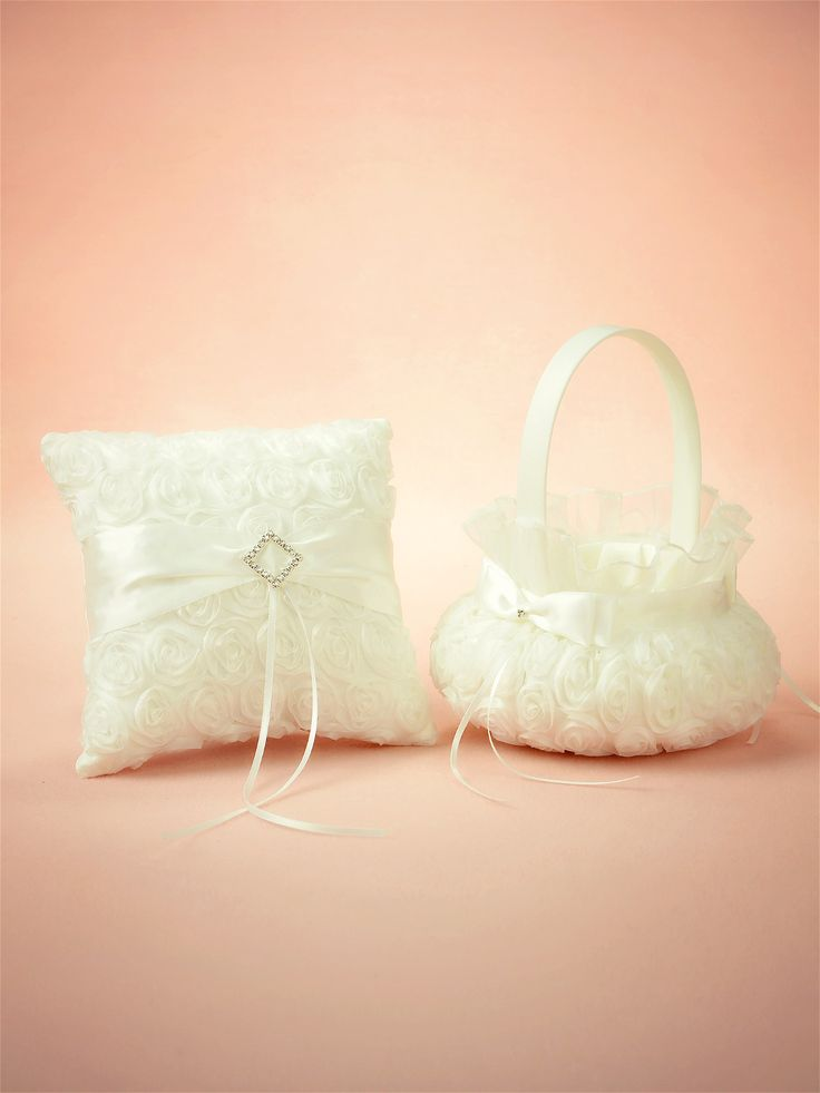 Victoria Floral Ring Pillow and Basket Set for white wedding   Artweddings Wedding Supplies & Wedding Ceremony