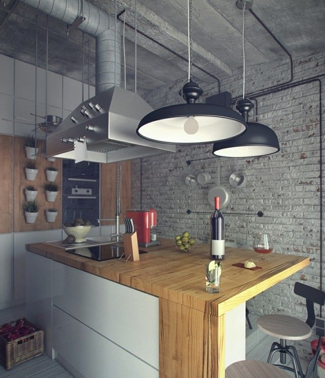 kitchen loft design. Méchant Design:  Great example of how the architecture is directly part of the interior design :)