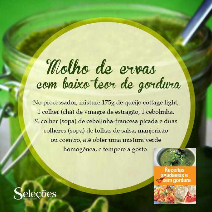 O Molho de ervas com baixo teor de gordura  dura até 3 dias na geladeira, mas engrossa com o tempo. Para diluir acrescente 1 colher (sopa) de iogurte desnatado e misture.