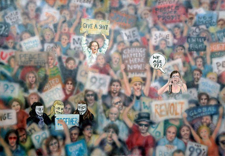 """""""New(s) Paintings"""", Protesty """"Oburzonych"""" i okupacja Wall Street w Nowym Jorku / wrzesień 2011 #art #painting #99percent #cyberculture"""