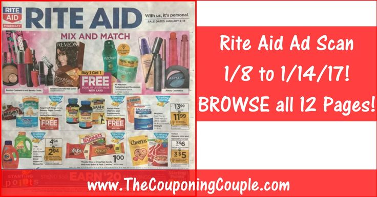 Who is Ready to Check Out the NEW 1/8 to 1/14/17 ~ ALL 12 PAGES Click the Picture below to BROWSE all 12 Pages of the ACTUAL RITE AID AD SCAN for 1/8 to 1/14/17 ► http://www.thecouponingcouple.com/rite-aid-ad-scan-for-1-8-to-1-14-17/  PLEASE USE the SHARE button below the Picture to SHARE this Rite Aid Ad with your Family and Friends!  #Coupons #Couponing #CouponCommunity  Visit us at http://www.thecouponingcouple.com for more great posts!