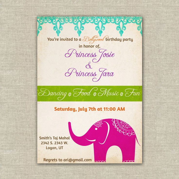 Bollywood Themed Birthday Party Invitations, Girls, Indian