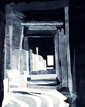Shards of Sunlight stream through a hall in Angkor Wat: Margaret Hage:  collage in painted papers.  Developed from images taken and sketches and notes during my visit.