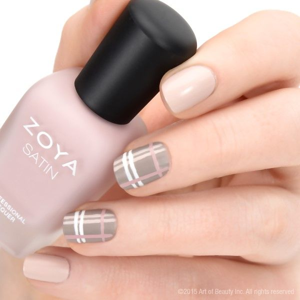 Zoya Satins Plaid Nail Art