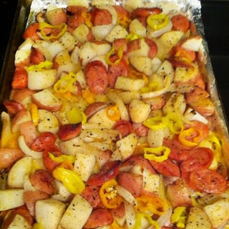 oven-roasted sausages, potatoes, onions and peppers. All in one pan, cooked at 400 degrees for 35 min. Add some seasonings and you have a quick one pan meal.