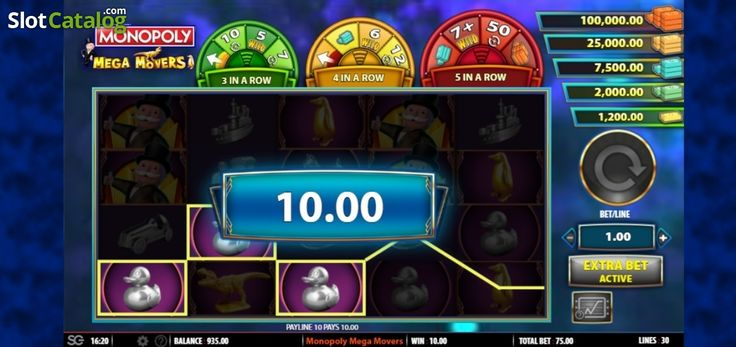 Win Screen . Monopoly Mega Movers (Video Slot from SG)