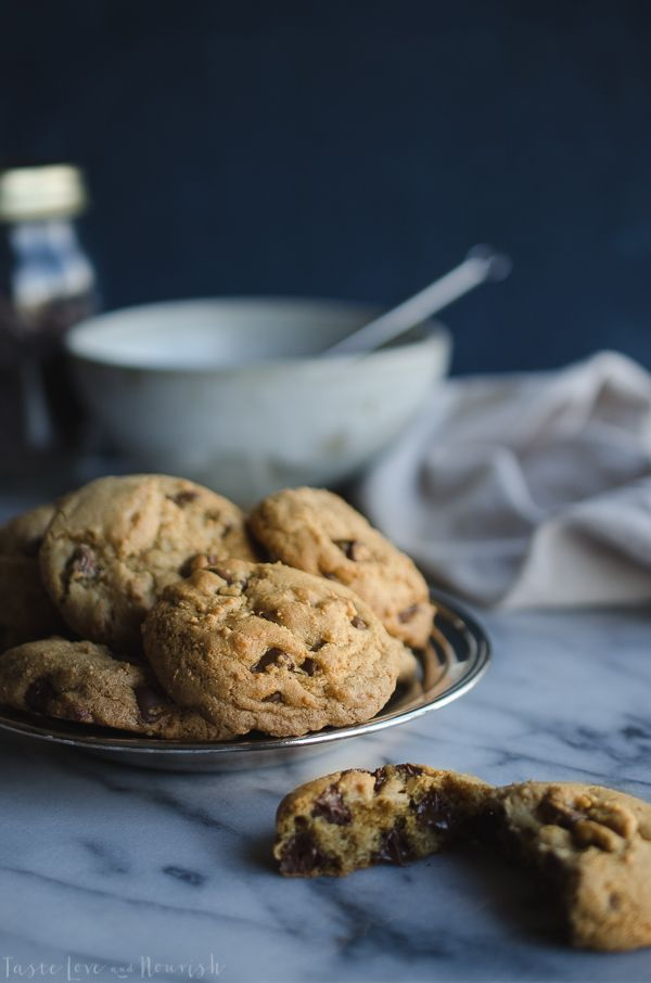 These Chocolate Chip Cookies are amazing! No one will ever guess they are made with olive oil! They have a great crunch on the outside and soft and chewy on the inside!