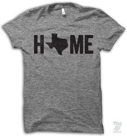 Texas is home. Digitally printed on an athletic tri-blend t-shirt. You'll love it's classic fit and ultra-soft feel. 50% Polyester / 25% Rayon / 25% Cotton. Each shirt is printed to order and normally