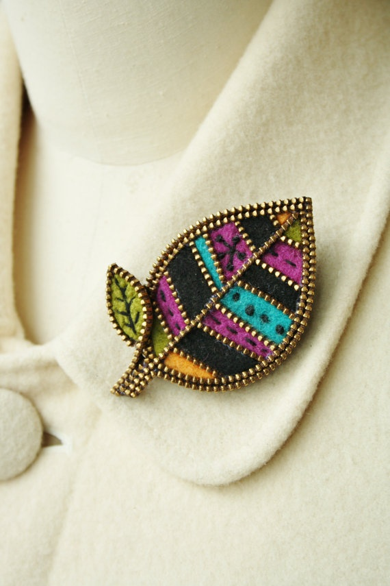 Another felt and zipper brooch by woollyfabulous