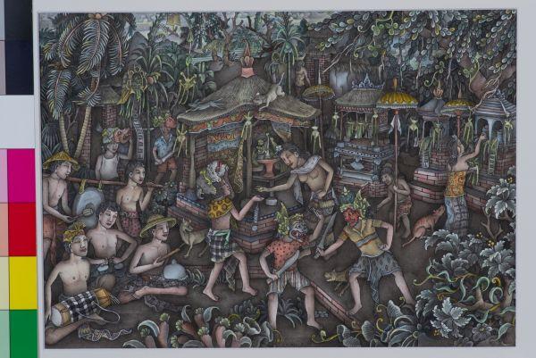 Wayang Wong (Barong Ngelawang) by I Made Budi (1932–) Bali. Date painted: 1997 Pementasan barong Ngelawang dilakukan oleh anak-anak untuk mengumpulkan dana. Biasanya dipentaskan setelah hari raya Galungan. rumah orang yang dilewati akan memberikan uang sekedarnya. 36 x 26 cm paper Private Collection of Batuan, Singapore, photo: Ken Cheong #art #Bali #barong