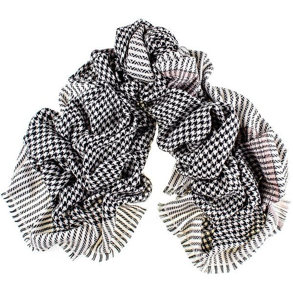 Black Black and Ivory Houndstooth Cashmere Ring Shawl (5,250 EGP) ❤ liked on Polyvore featuring accessories, scarves, houndstooth scarves, chevron scarves, chevron print scarves, black shawl and patterned scarves