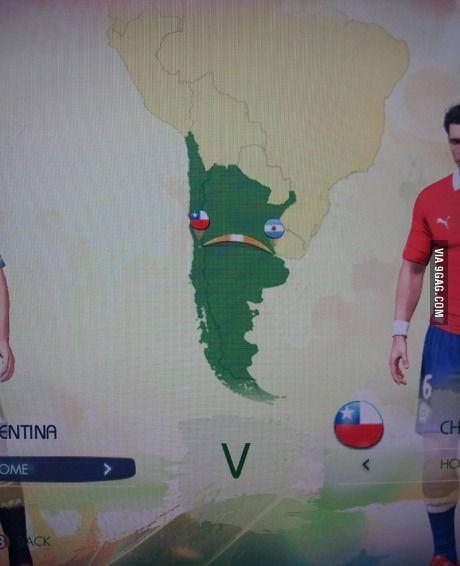 Chile VS. Argentina in the 2014 Fifa World Cup game looks like an upset jalapeño pepper.