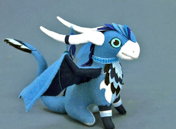 Soft toy dragon  blue fantasy plush animal textile toys Soft sculpture children, fabric toy, handmade, favorite toy