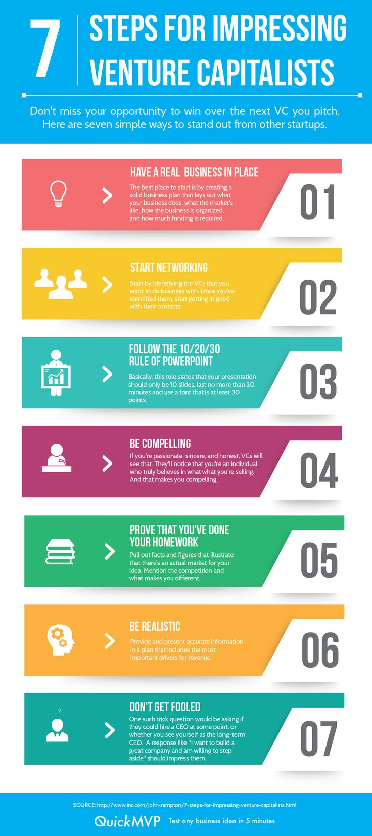 7 Steps for Impressing Venture Capitalists #infographic #vc #startups