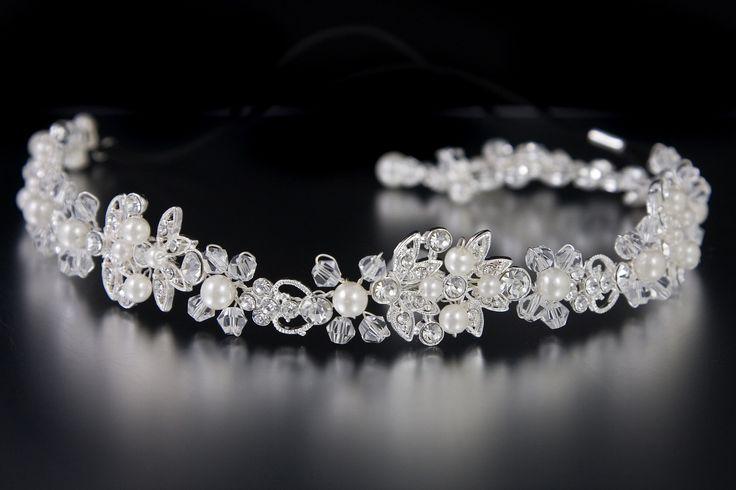 Pearl Wedding Headband with Crystal Beads and Jewel Leaves