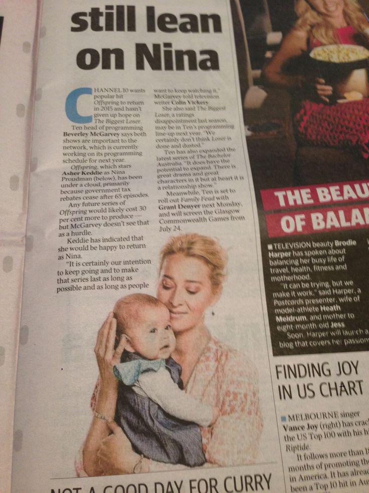 Herald Sun : Offspring Article, Zoe wearing Oishi-m