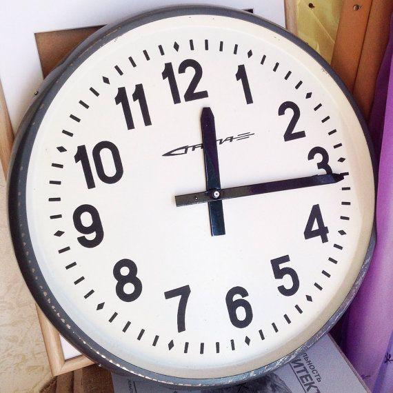 Huge Vintage Industrial Clock Large Soviet by SovietHardware