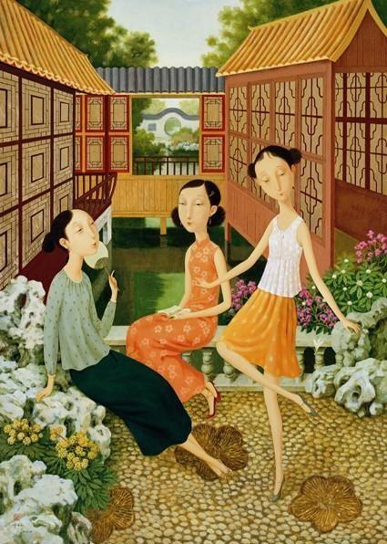 Shuai Mei Playing in the Garden Egg Tempera on Canvas 120 x 86 cm, 2006